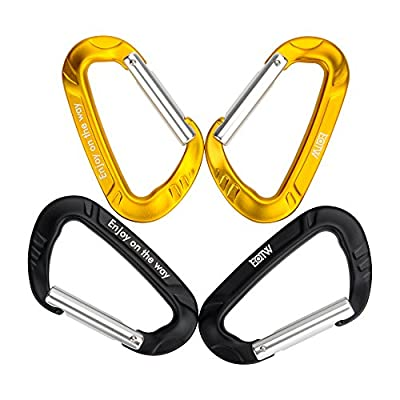EOTW Aluminum Keychain Carabiner Quickdraw D-ring Wiregate Carabiner Key Chain Snap Clip Hook Buckle Pack D Shape Key Holder Premium Utility Outdoor Equipment Best For Hammock Camping (Black+Gold)
