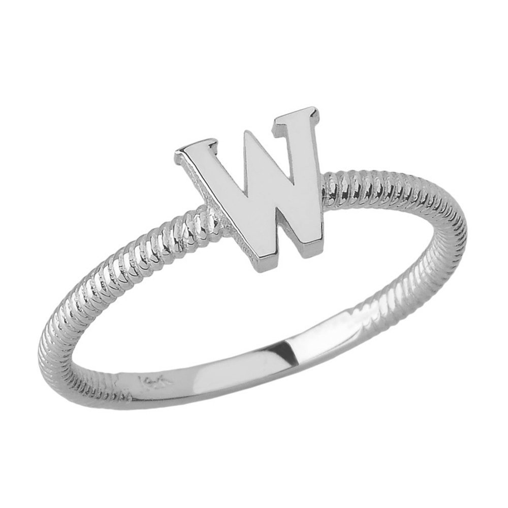 Women's 925 Sterling Silver ''W'' Initial Stackable Rope Design Ring (Size 4.5)