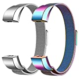 SWEES Metal Bands Compatible for Fitbit Alta HR Bands, 2 Pack Milanese Loop Mesh Stainless Steel Magnetic Wristband Replacement with Fitbit Alta/Alta HR Band Women Men Small Large, Silver, Colorful