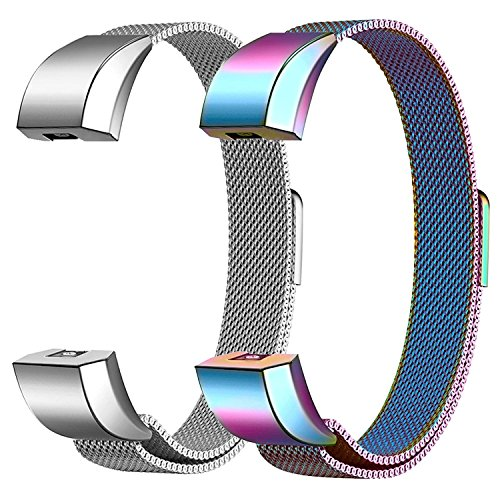 SWEES Bands Compatible Fitbit Alta HR Bands,2 Pack Milanese Loop Mesh Stainless Steel Metal Magnetic Wristband Replacement Fitbit Alta Band Women Men Small Large, Silver, Black, Rose Gold, Colorful