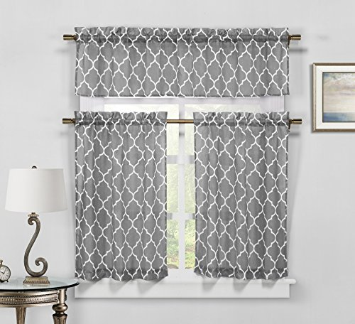 Geo Trellis 3 PC Faux Linen Kitchen Curtain Tier & Valance Set – Assorted Colors (Gray)