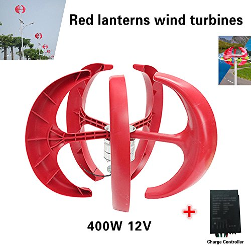 400W Wind Turbine Generator Red Lantern Shape 5 Blades Wind Turbine Kit with Controller (12V)