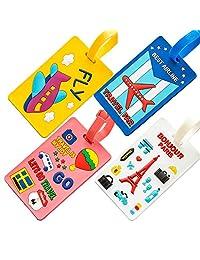 Etiquetas para Maletas de Viaje 4 Silicona Etiquetas de Identificación para Bolsas y Equipaje, Etiqueta de Autobús para Mochila Luggage Tags Suitcases Identificar Travel ID For Bags Baggage Backpack