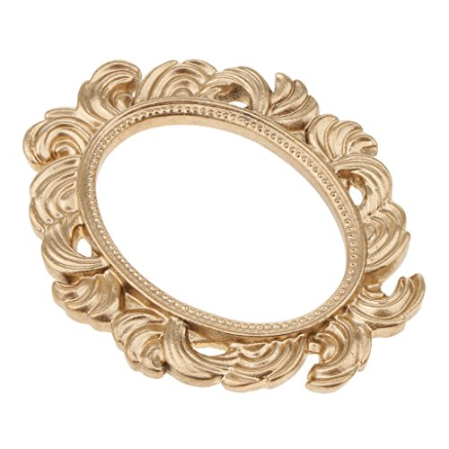 Fityle Novelty Baroque Oval Resin Table Wall Door Frame Wedding Photo Prop Gold ()