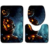Halloween Decor Clearance KIKOY Ghosts Toilet Seat Cover and Rug Bathroom Set 3Pcs