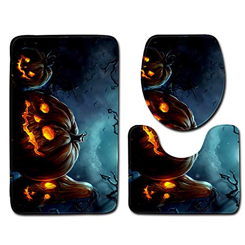 Halloween Decor Clearance KIKOY Ghosts Toilet Seat Cover and Rug Bathroom Set 3Pcs -