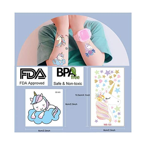 Jatidne Unicorn Temporary Tattoos for Kids Birthday Party, Waterproof Unicorn Tattoo Stencil Unicorn Party Supplies 25 sheets 5