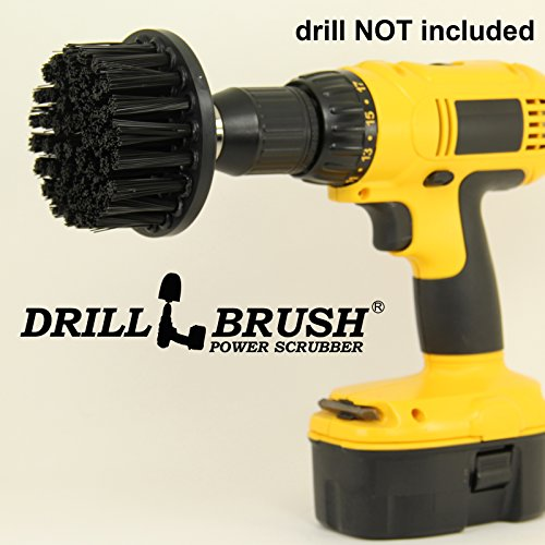 Black Ultra Stiff Nylon Long Bristle Contractor Grade Scrub Brush for Brick and Concrete by Drillbrush
