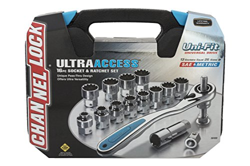 Channellock 39100 Ultra Access Socket Set, 16 Piece