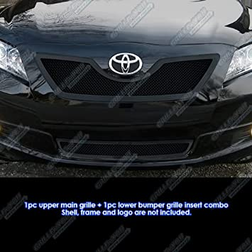 Fits For 2007 2009 Toyota CAMRY Front Upper+Lower Grill Mesh Chrome Grille Set