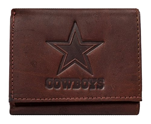 Rico Dallas Cowboys NFL Embossed Logo Dark Brown Leather Trifold Wallet ()