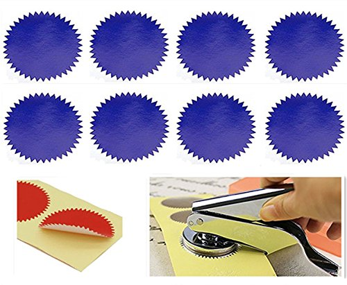 Custom Stickers Seals - MNYR 50pcs BLUE Vintage Embosser Stamp Sealing Blank Certificate Self-Adhesive Seal Stickers