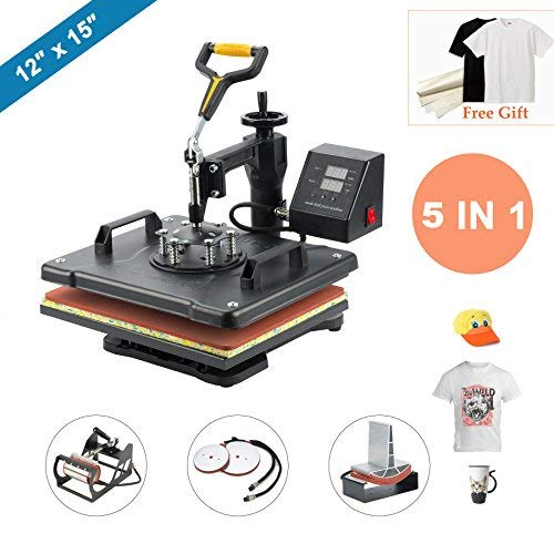 "CO-Z 5 in 1 12"" X 15"" Heat Press 360 Degree Swivel Heat Press Machine Multifunction Sublimation Combo T Shirt Press Machine for Mug Hat Plate Cap Mouse Pad 1250W ()"