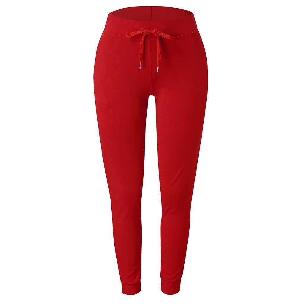 Ohbiger Womens Super Soft Jogger Pants Mid Rise Waist Athleisure Sweatpants for Women