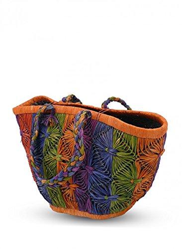 - Serene Spaces Living Multicolor Cutaway Raffia Bag, Handmade Woven Tote, Measures 12