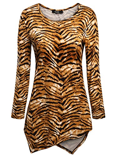 Tiger Print Tops for Women,Women's Casual Tunic Top and Blouses Womens Asymmetrical Hem Tunics Shirt Blouse Hankerchief Hemline Long Sleeve Round Neck Tee T Shirts L Large Tiger ()