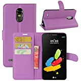 LG Stylo 3 Case, LG Stylus 3 Case, Fettion Premium PU Leather Wallet Flip Phone Protective Case Cover with Card Slots, Stand Feature for LG Stylo 3 / LG Stylus 3 Smartphone (Wallet - Purple)