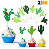 48 Pieces Cactus Cupcake Toppers for Cake Decorations, Fiesta Cacti Theme Birthday Party Supplies Cactus Birthday Candles, Hawaii Party Favors Summer Theme Wedding Parties Decor