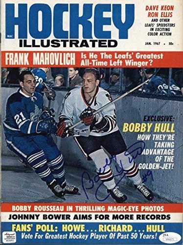 Bobby Hull Black Hawks Signed 1967 Hockey Illustrated Magazine - COA - JSA Certified - Autographed NHL Magazines