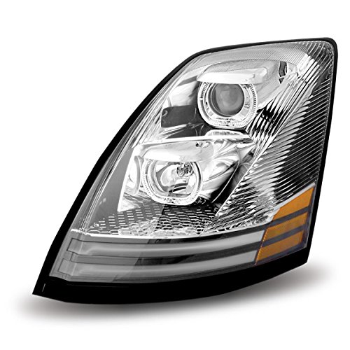 - Volvo VNL Chrome Halogen Headlight Assembly with LED (Driver Side)