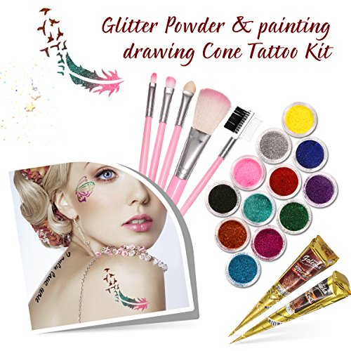 Body Paint, LuckyFine Makeup Set Temporary Tattoo Paintings For Body Art - 12 Glitter Powder + 2 Painting Drawing + 125 Hollow Stencil +1 Makeup Bag + 1 Glittered Glue + 5 Brushes