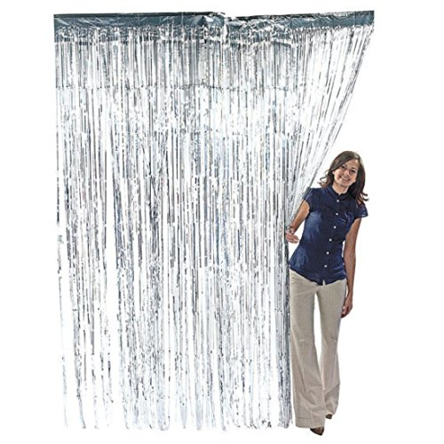 ZagGit Set of 2 Metallic Silver Foil Fringe Party Decoration Door Curtains, 3 x 8 (Foil Fringe Curtain)