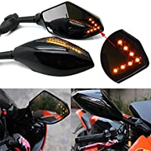 Pair of Motorcycle Led Turn Signal Integrated Indicator Rearview Mirrors for Racing Bike Sport Bike (Smooth Black+Smoke Lens)