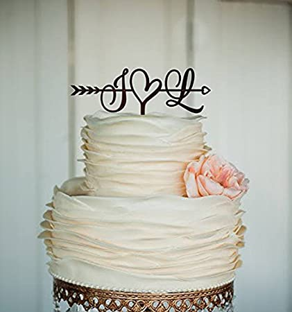 Amazon.com: Initials Cake Topper Wedding Arrow Cake Topper Rustic ...