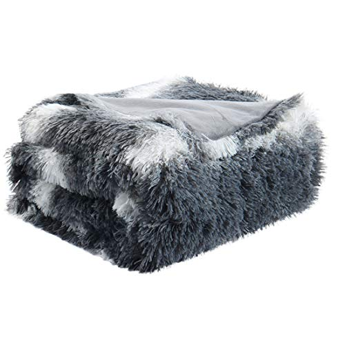 """uxcell Faux Fur Throw Blanket 50"""" x 60"""" - Decorative White Striped Shaggy Long Fur Blankets,Lightweight Fuzzy Plush Microfiber Blanket for Couch,Sofa - Keep Warmth for Years,Gray"""