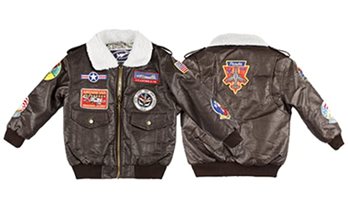 787e9a1978eb Amazon.com  A-2 Bomber Jacket W 9 Patches - Kids Aviation Jackets ...