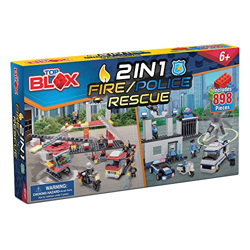 Police Fire Truck - Creative Kids Fire Police Build Rescue Set - 898-Piece Playset w/Tools, Helicopter, Fire Department, Fire Truck, Motorcycle, Jail, Police Station, Prisoner Transport, Patrol Car & Figures