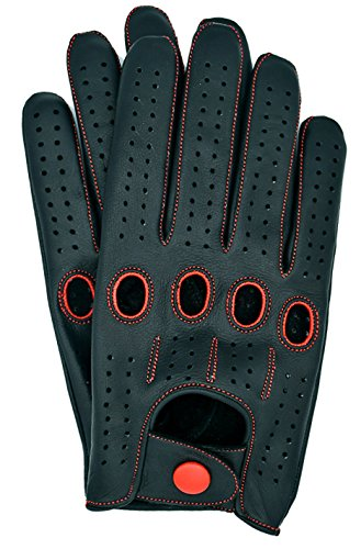 Riparo Genuine Leather Full-finger Driving Gloves (Medium, Black/Red B)