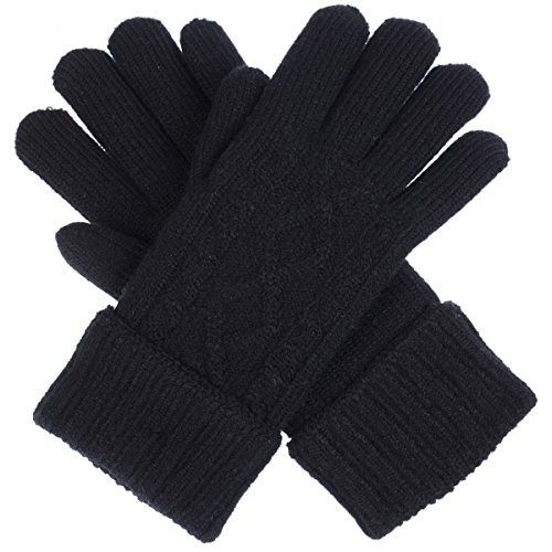 Ladies Black Classic Fleece - Women's Winter Classic Cable Ultra Warm Plush Fleece Lined Knit Gloves, Many Styles (Black Ribbed Turnover Cuff)