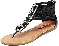 Unionbay Women's Loretta Metallic Glitter Rhinestone Strappy Flat Sandal (6 B(M) US, Black)