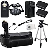 Canon EOS 7D Essentials Accessory Kit Package Includes Professional Battery Pack Grip / Vertical Shutter Release, 2 Replacement Extended Life LP-E6 Battery Packs, IR Remote Control, Professional Camera Hand Grip, Portable 50 Inch Tripod + More