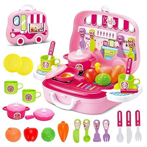 Toyshine DIY Luxury Kitchen Set with Briefcase and Accessories (Pink)