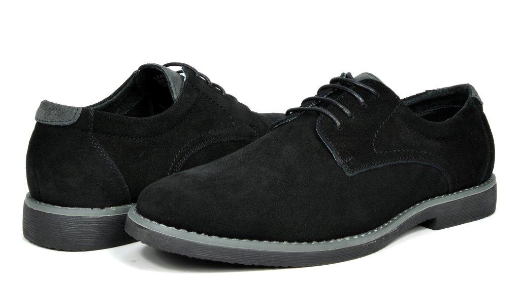 Bruno Marc Men's Wrangle Black Suede Leather Lace up Oxfords Shoes - 10.5 M US