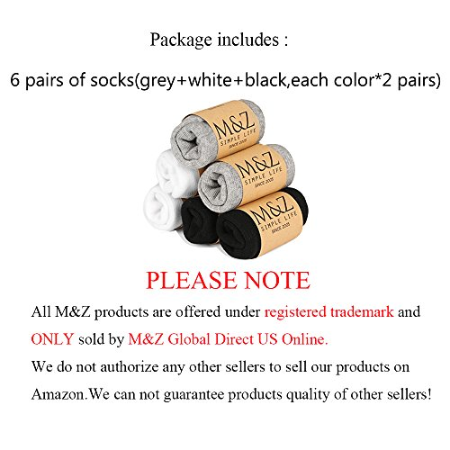 M&Z Mens No Show Non-Slid Sock Eygept Cotton Black/White/Gray Socks 6 Pack by Mottee&Zconia (Image #6)