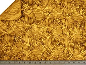 LA Linen™ Rosette Ribbon Satin Fabric By the Yard, 54-Inch Wide, Gold.