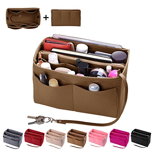 Purse Organizer Insert, Felt Bag organizer with zipper, Handbag & Tote Shaper, For Speedy Neverfull Tote, 5 Sizes (Mini, Light Coffee) (Check Tote Small)