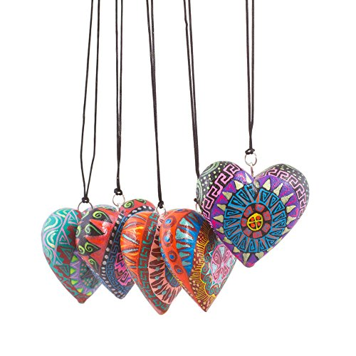 NOVICA Heart Shaped Hand Painted Wooden Alebrije Hanging Holiday Tree Ornaments, Alebrije Hearts' (set of (Heart Shaped Christmas Tree Ornament)