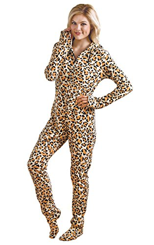 PajamaGram Women's Hoodie-Footie Fleece Onesie Pajamas, Leopard, SML (4-6)