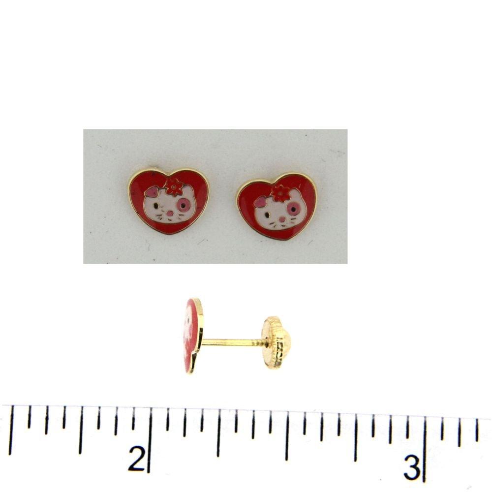 7mm 18Kt Yellow Gold Red Enamel heart kitty Screwback Earrings