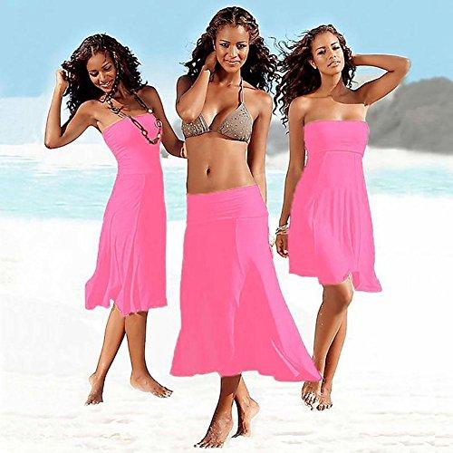 SHISHANG playa de las mujeres de la falda Europa y los Estados Unidos fue el verano delgada nuevo envuelta en el pecho falda de la playa del pecho del sujetador tendencia más desgaste francesa Varieda Pink
