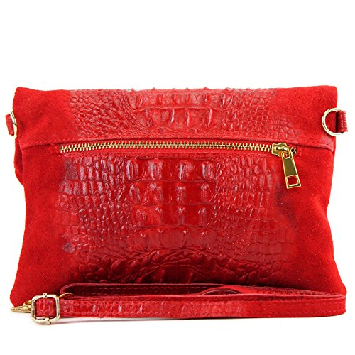 leather leather underarm bag Wild shoulder leather bag nappa bag Leather bag shoulder Crocodile croco small Clutch Wild T54 Italian Red qwPxXdCq
