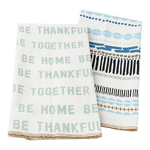 Hallmark Home Cotton Kitchen Tea Towels (Set of 2), Be Home Word Print and Blue Pattern