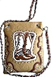 western boot stitched floral embossed small crossbody messenger purse (BEIGE)