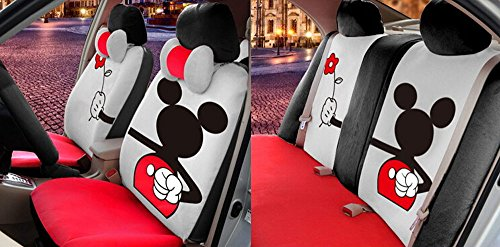 Best High-grade 10ps the New Girls Love Cartoon Mickey Mouse Car Seat Cover Four Seasons General Winter Plush Cartoon Seat Covers (Gray and red) (online)