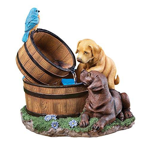 A garden fountain with animal designs.