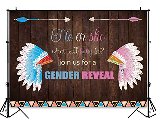 Funnytree 7x5ft Boho Gender Reveal Backdrop Girl or Boy Pink Blue Baby Shower Photography Background Rustic Wood Tribes Headdress Feather Wild Invitation Party Decoration Cake Table Banner Photobooth